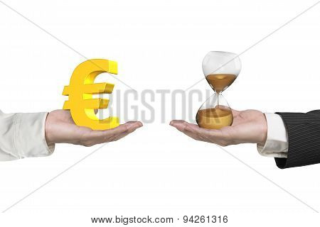 Euro Symbol And Hour Glass With Two Hands