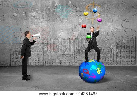 Boss Using Speaker Yelling Businessman Juggling With Currency Symbol Balls