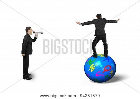 Boss Using Speaker Yelling At Businessman Balancing On Ball