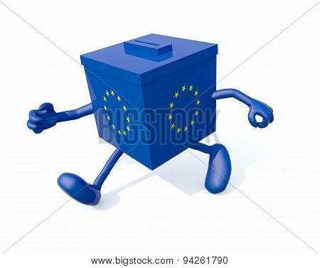 European Ballot Box With Arms And Legs That Run