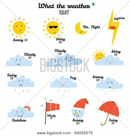 Cute and funny smiley weather icons