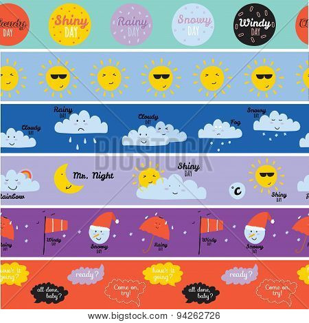 Childish pattern with cute smiley weather icons