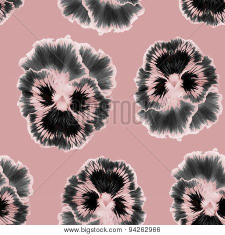 Seamless vector pattern with  pansies flower