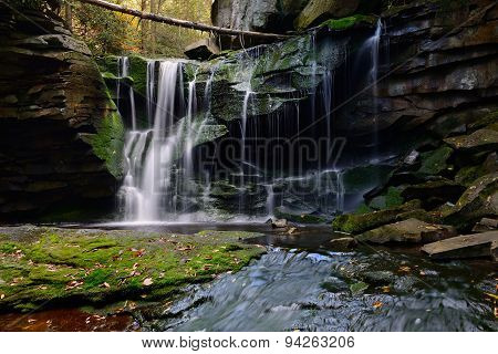 Moss Covered Waterfall in Autumn