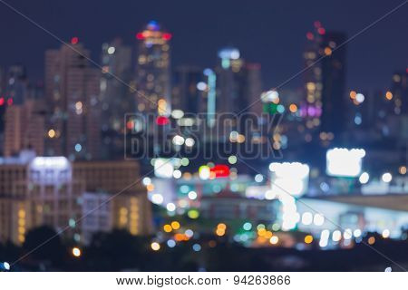 Twilight of the big city abstract blur bokeh background
