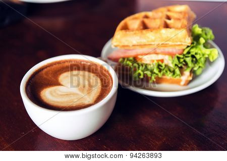 Coffee Mocha Hot On Wooden Table On Brown Background