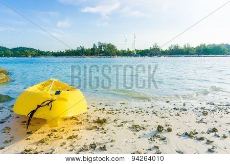 Yellow Kayak On The Sea. Kayaking On Island