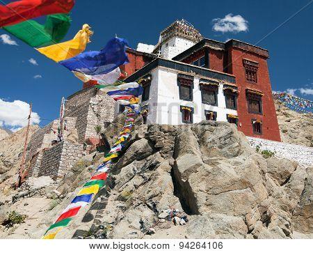 Namgyal Tsemo Gompa With Prayer Flags - Leh - Ladakh