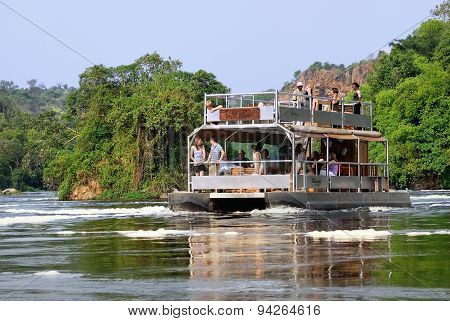 Tourists On The White Nile River In Uganda