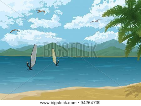 Sea Landscape with Palms Mountains and Surfers