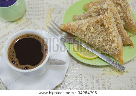 Turkish Coffe With Baklava Dessert