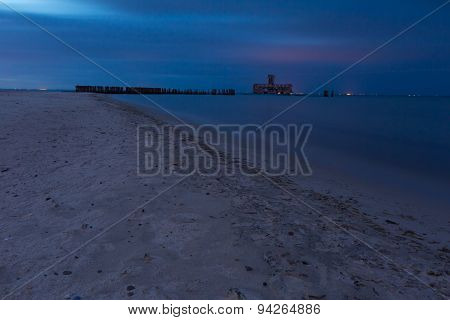 Baltic Shore Photographed At Night