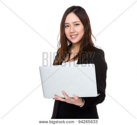 Businesswoman use of notebook computer