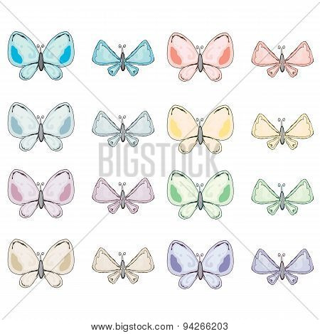 Colorful abstract watercolor butterfly collection