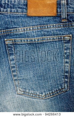Blue Jeans Fabric With Pocket And Label