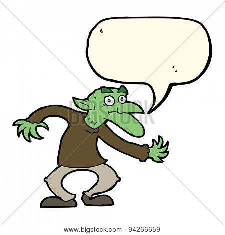 cartoon goblin with speech bubble