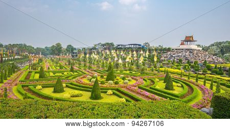 French garden of Nong Nooch Tropical Botanical Gardenat sunrise , Pattaya, Thailand