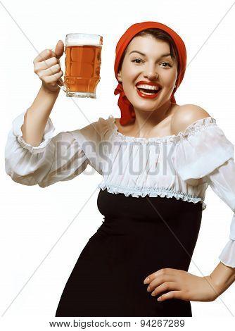 Cheerful Girl With A Mug Of Beer