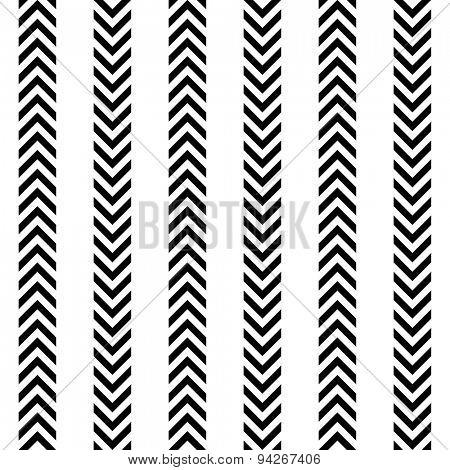 Seamless Arrow Pattern. Abstract Monochrome Background. Vector Regular Texture