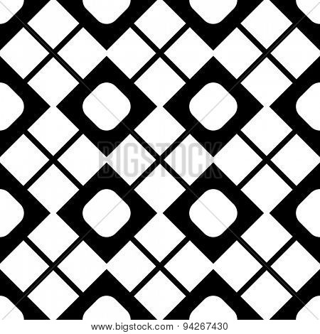 Seamless Grid Pattern. Vector Black and White Background. Regular Texture