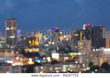 Twilight of abstract blur bokeh city lights