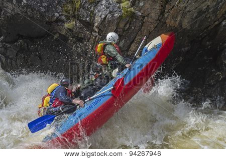 Sport Catamaran In Hard And Dangerous Situation In Rapids.