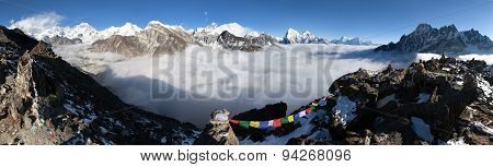 Panoramic View Of Mount Everest, Lhotse, Cho Oyu, Makalu