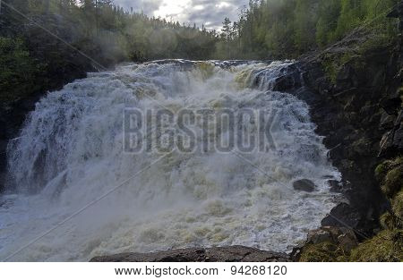 General View Of The Big Yaniskengas Waterfall. Murmansk Region, Russia.