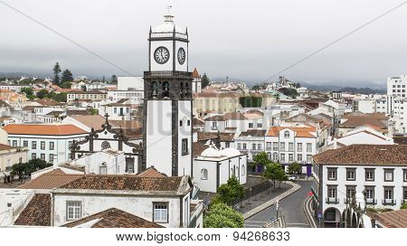 Top view of Praca da Republica in Ponta Delgada, Azores, Portugal.