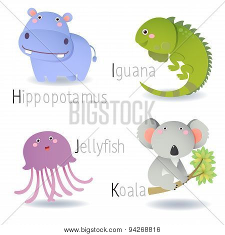 Alphabet With Animals From H To K
