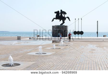 Greece, Thessaloniki. Monument To Alexander Great On Waterfront