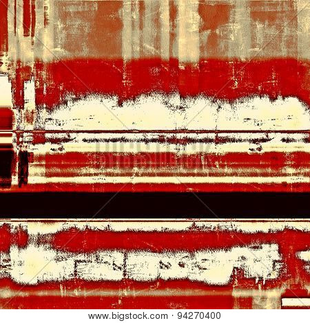 Abstract grunge background with retro design elements and different color patterns: brown; gray; black; red (orange)