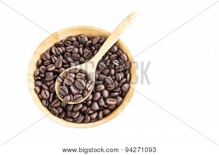 Coffee Beans In Wooden Bowl On White Background