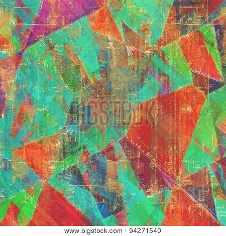 Old vintage background with retro-style elements and different color patterns: brown; blue; green; purple (violet); red (orange)