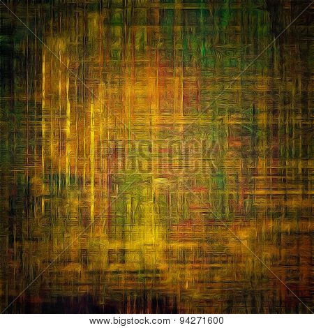 Grunge texture with decorative elements and different color patterns: yellow (beige); brown; green; black