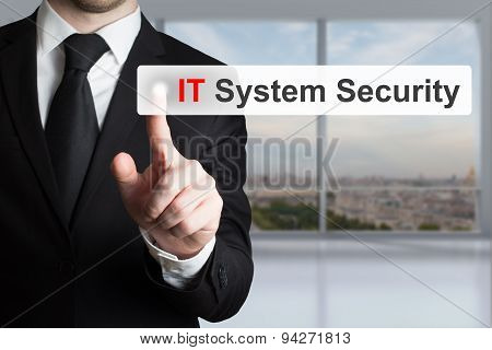 Businessman In Office Pushing Flat Touchscreen It System Security