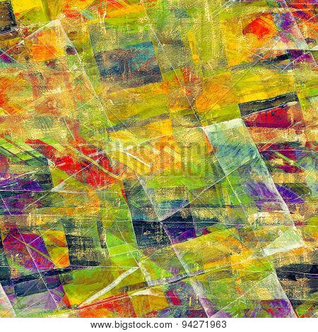 Weathered and distressed grunge background with different color patterns: yellow (beige); blue; green; purple (violet); red (orange)