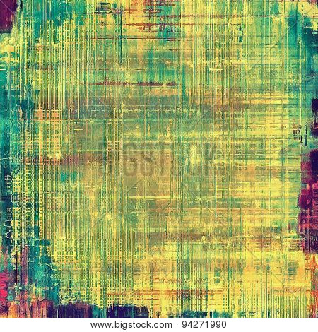 Aging grunge texture designed as abstract old background. With different color patterns: yellow (beige); blue; green; purple (violet)