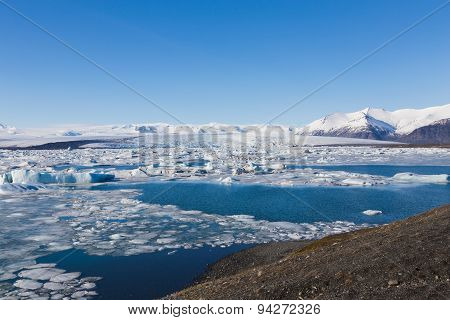 Beautiful  of Jokulsarlon lagoon during winter Iceland
