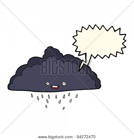 cartoon rain cloud with speech bubble
