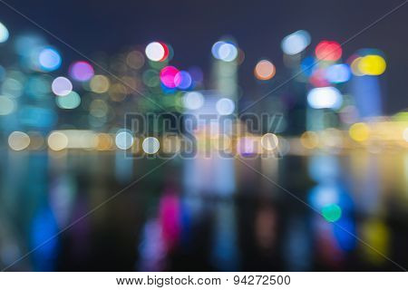 Abstract blur bokeh lights business building at night