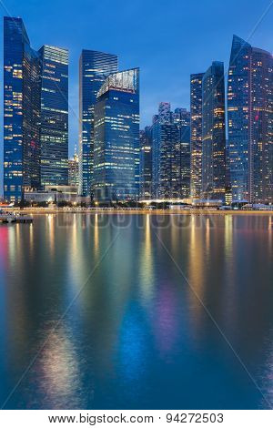 Cityscape at Marina Bay Business District  twilight with water reflection
