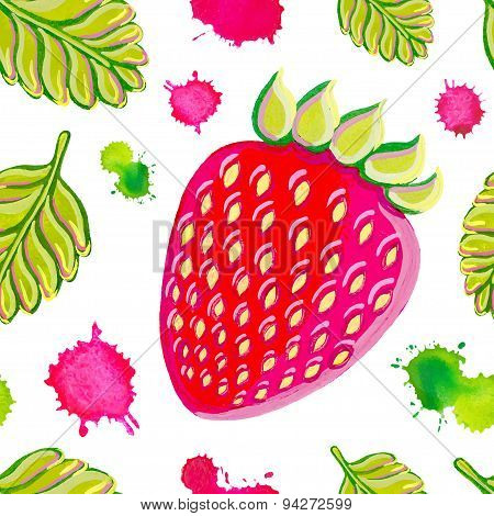 Seamless pattern with strawberries.