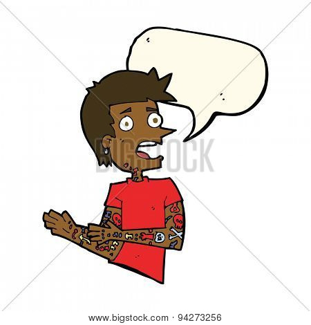 cartoon man with tattoos with speech bubble