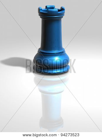 Blue Chess Tower Figurine Isolated Illustration