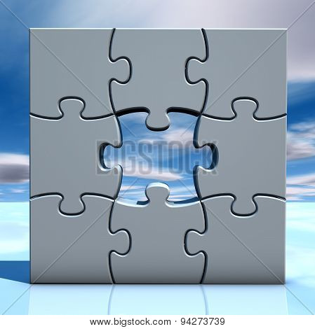 Illustration With Puzzles And Sky Problem Concept