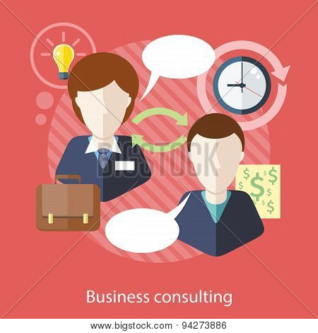 Businessman and Consultant with Speech Bubbles
