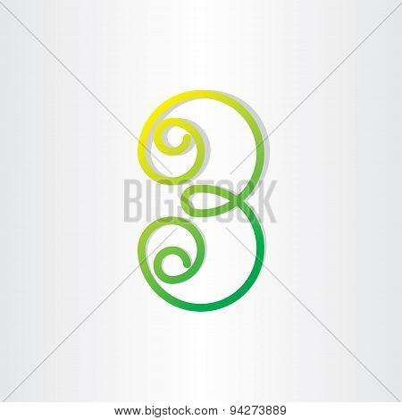 Number 3 Or Letter B Green Symbol