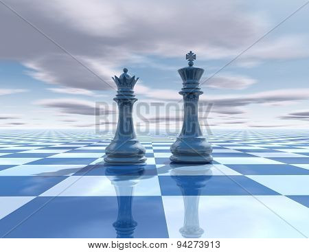 Abstract Surreal Background With Chess Figures