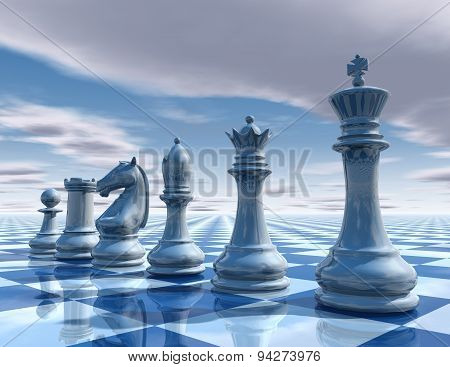 Chess Surreal Background With Sky And Chessboard Illustration